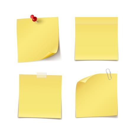 Zelfklevende notities met pin, clip en whisky op wit wordt geïsoleerd Stock Illustratie