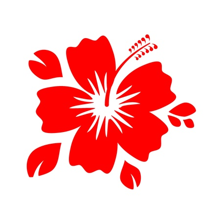 Outline Red Hibiscus Flower isolated on white background Vector Illustration