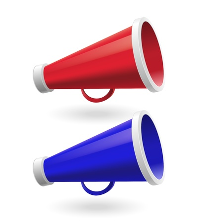 Red and Blue Megaphone isolated on white background Stock Vector - 20881140