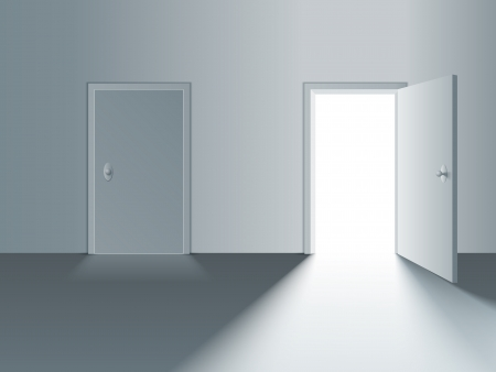 closed door: Closed and open white doors  Vector Illustration