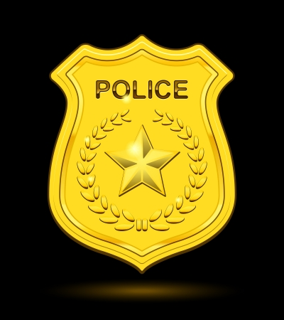 enforcement: Gold Police Badge isolated on black background Illustration