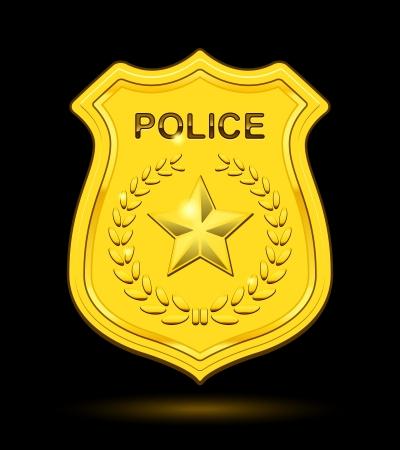 investigator: Gold Police Badge isolated on black background Illustration