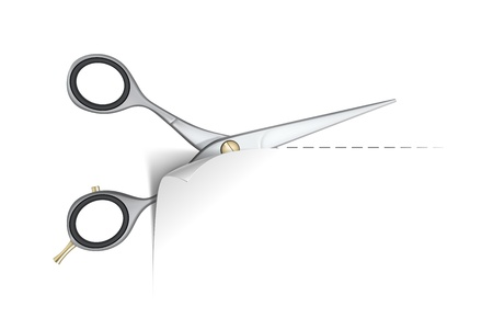 hair cutting: Scissors cut paper on white background  Vector Illustration