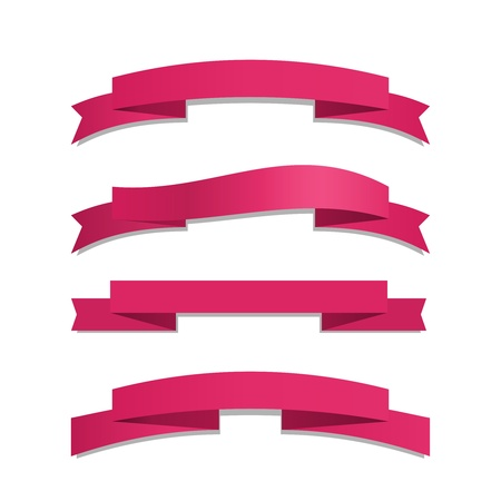Vector Pink Ribbon Set on white background Stock Vector - 20881156