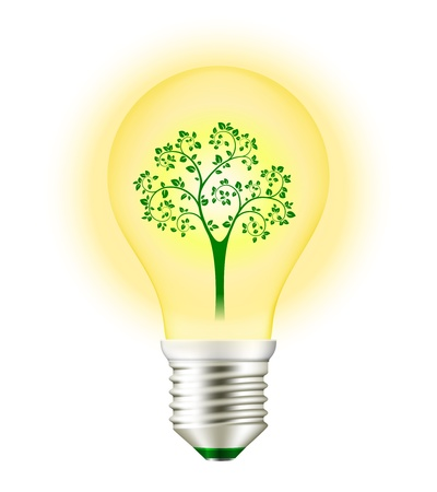 Green Energy Light Bulb with Tree isolated on white Stock Vector - 20881167