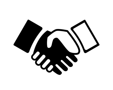 shake hand: Vector black and white Hand shake icon