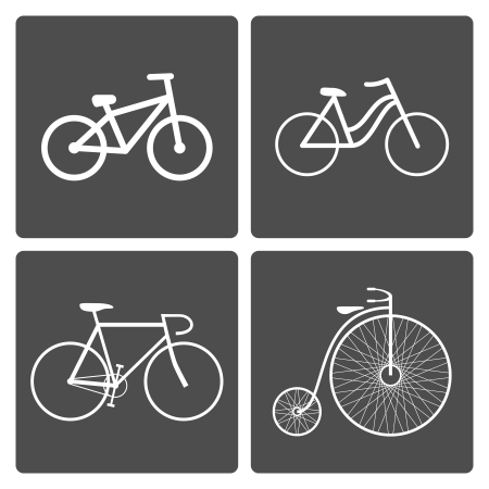 Vector illustration set of different bike icons Vector