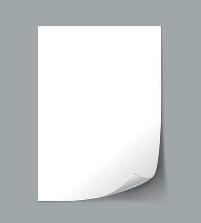 paper curl: Vector White Empty paper sheet with curl