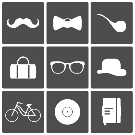 Hipster Icons, mustache bow tie glasses bike pipe Stock Vector - 21576505