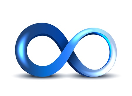 Vector Blue Infinity Symbol on white background