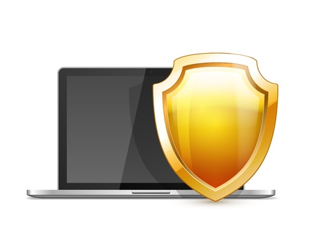 Laptop with Shield, internet security, antivirus or firewall Stock Vector - 21576507