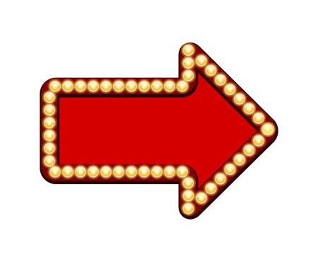 Vector Flecha roja con bombillas de luz aislados sobre fondo blanco