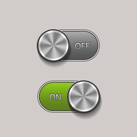 Vector Toggle Switch On and Off position, On Off sliders Stock Vector - 21576498
