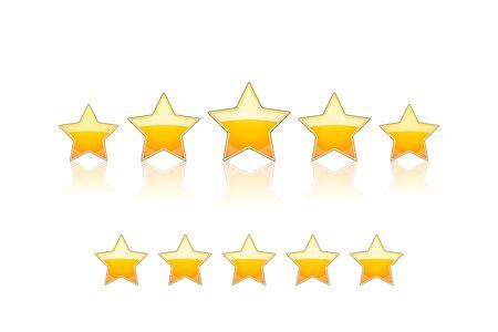 5 gold stars Vector Illustration isolated on white