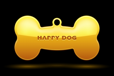 Gold Bone for dog collar on black background Stock Vector - 21576517