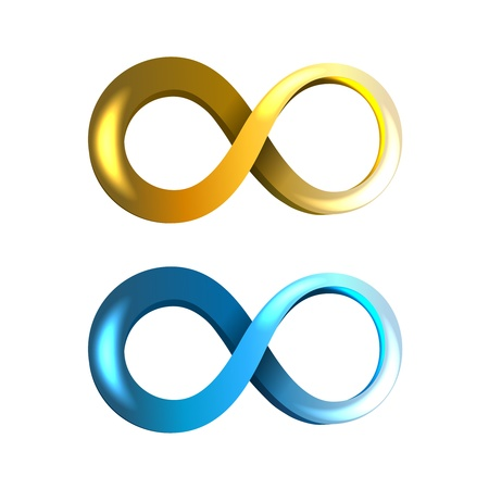 mobius symbol: Blue and Yellow Infinity Icons isolated on white background Illustration