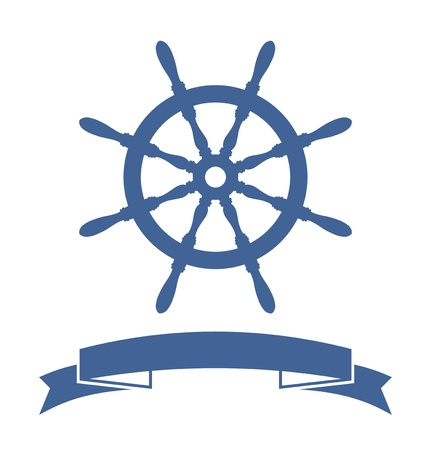 steering: Ship Wheel Banner isolated on white background  Vector Illustration Illustration