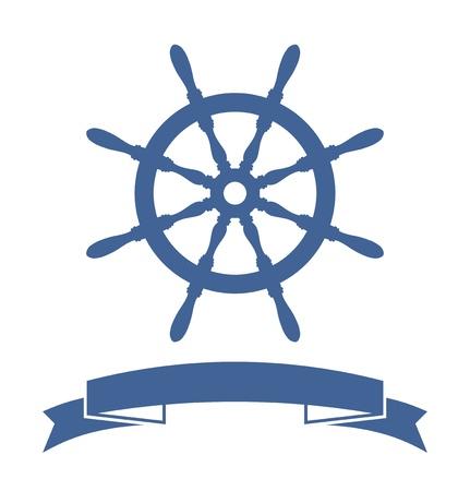 rudder: Ship Wheel banner isolato su sfondo bianco, illustrazione vettoriale Vettoriali