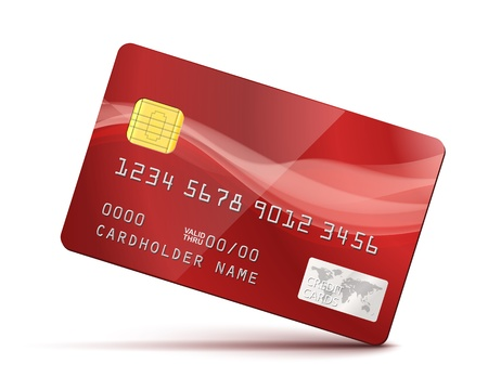 Red Credit Card Vector Illustration isolated on white Stock Vector - 21576526