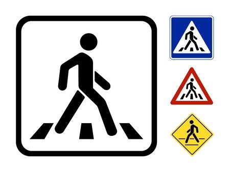 白い背景で隔離された歩行者シンボル ベクトル イラスト