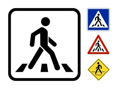people walking: Pedestrian Symbol Vector Illustration isolated on white background