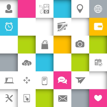 Vector Infographic Design with squares and icons Stock Vector - 21937767