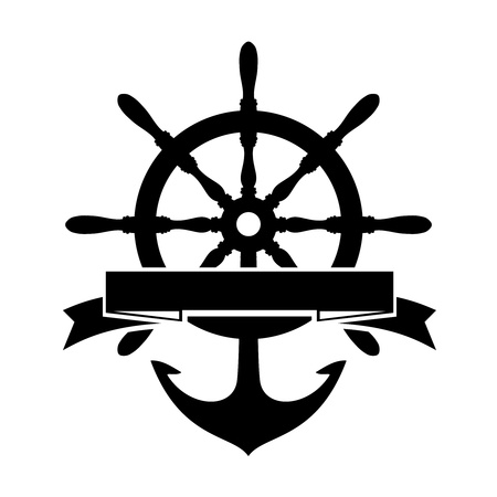 Label with Steering Wheel and Anchor on white background Vector