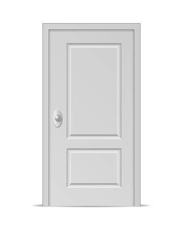 single entry: Vector Closed Door isolated on white background
