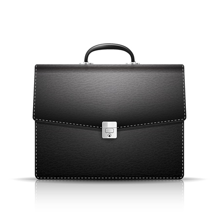 brief: Black Briefcase with leather texture isolated on white background