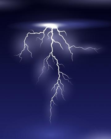 Vector Lightning on black and blue background Ilustração