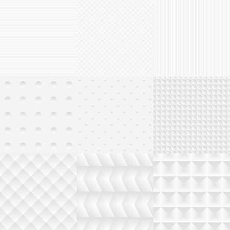 Seamless simple vector White Textures Set backgrounds