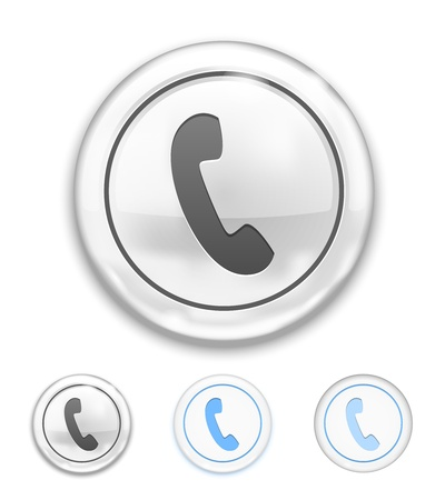 Vector Telephone Icon on Button on white background Stock Vector - 22095929