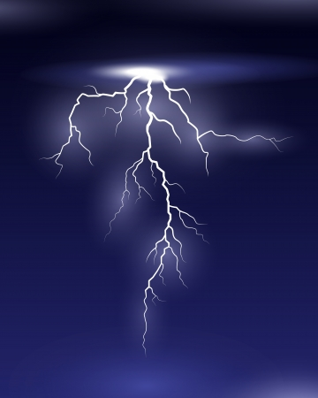 thunder storm: Vector Lightning on black and blue background Illustration