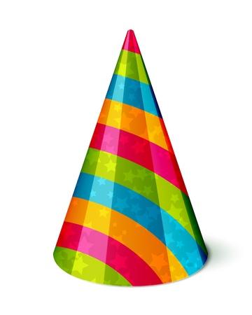 Chapeau de fête vecteur avec des rayures et des étoiles sur fond blanc