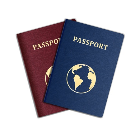 emigration: Vector Passports with map isolated on white background
