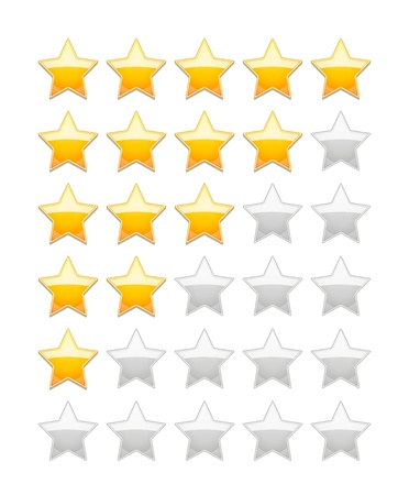 Vector Rating 5 Stars isolated on white