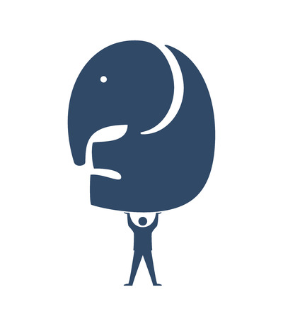 Businessman lifting Elephant Icon, Leadership in difficult projects Stock Vector - 22786994