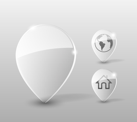 fixation: Transparent Glass pin with home and globe icons