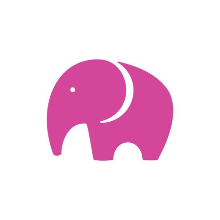 Vector Pink Elephant Icon in minimalistic style Stock Vector - 22787004