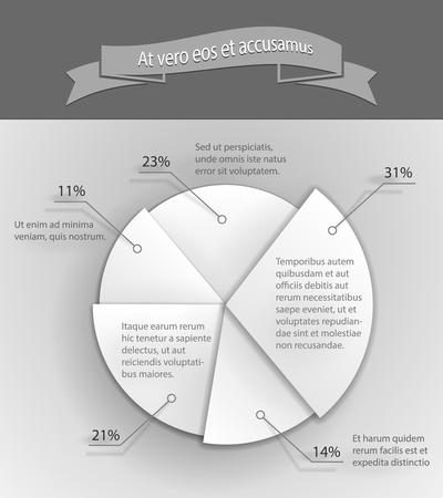 Paper 3D business pie chart Vector Illustration Stock Vector - 22787257