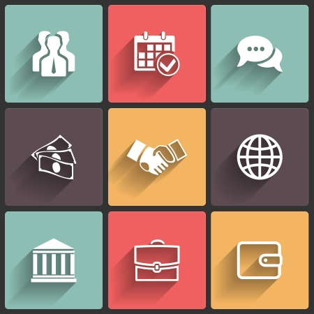 Business Flat icons for Web and Mobile Applications Vector