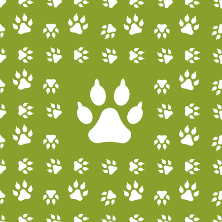 Vector Background with dog paw print on green Stock Vector - 23902591