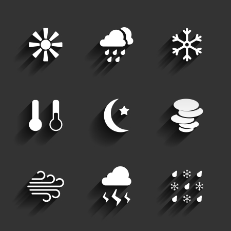 Weather icons in Flat Design Style. Sunny cloudy snow temperature Vector