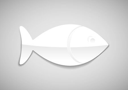 simple fish: vector simple fish icon in paper style Illustration