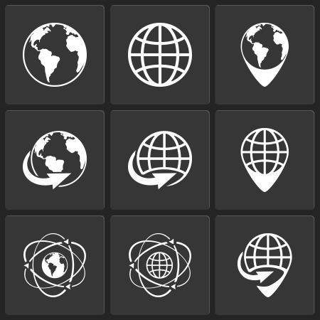 globe earth world icons vector white on black Stock Vector - 24053238