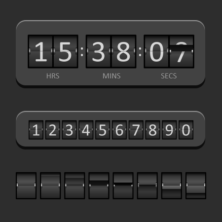 analog dial: Black Countdown Board and timer Vector Illustration