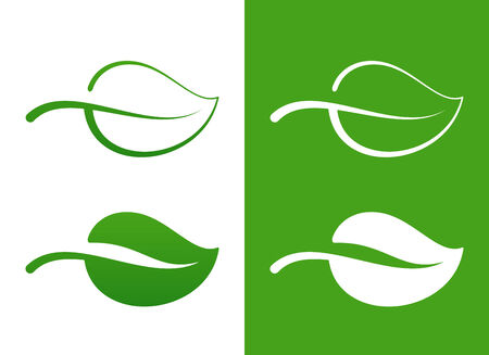 Vector Green Leaf Icons over white eco concept Stock Vector - 24936789