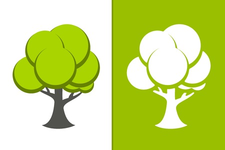 Vector Green Tree and white tree icon Illustration Stock Vector - 24936793