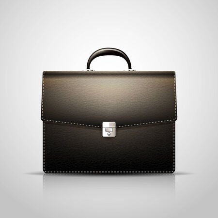 brief: Vector Black Brief case with leather texture Illustration