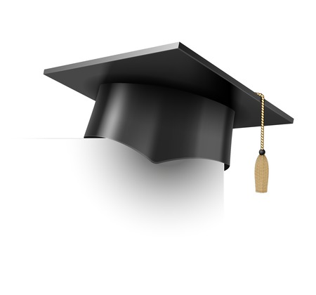 graduation cap: Realistic Vector Education Cup on White Background